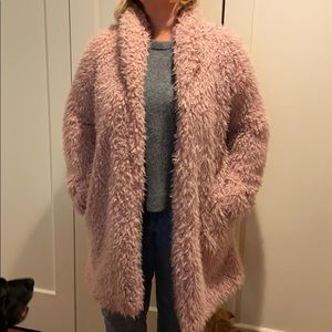 Wild Fable Pink Furry Coat with Pockets